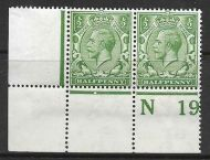 N14(8) ½d Yellow Green Control N19 perf pair UNMOUNTED MINT