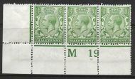 N14(3) ½d Pale Green Control M19 perf strip of 3 UNMOUNTED MINT