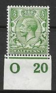 N14(6) ½d Bright Green Control O20 Imperf single UNMOUNTED MINT