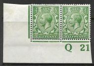 N14(1) ½d Green Control Q21 Imperf pair MOUNTED MINT left stamp