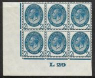 1929 2½d PUC Control L 29 Block of 6 UNMOUNTED MINT