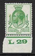 1929 ½d PUC Control L 29 single UNMOUNTED MINT - Creased