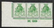 1929 ½d PUC Control K29 Marginal strip of 3 UNMOUNTED MINT MNH