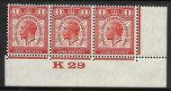 1929 1d PUC Control K29 Strip of 3 UNMOUNTED MINT MNH