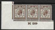 1929 1½d PUC Control K 29 Marginal Strip of 3 UNMOUNTED MINT MNH