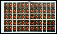 1967 Paintings 4d Complete Sheet no dot (cyl 4A1B2C1D1E1F) UNMOUNTED MINT MNH