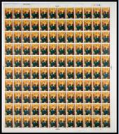 1967 Christmas 4d Complete Sheet No Dot (cyl 2A2B2C2D2E) UNMOUNTED MINT MNH.