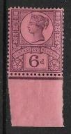 Sg 208a K37(2) 6d Deep Purple on Rose Red Paper Jubilee marginal UNMOUNTED MINT