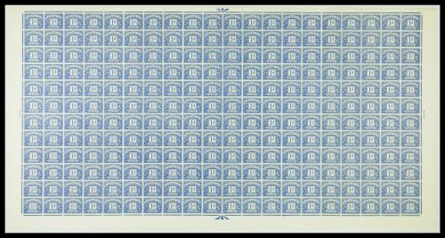 Sg D57 1d Blue QE II Multi Crowns Full sheet of Postage Dues UNMOUNTED MINT