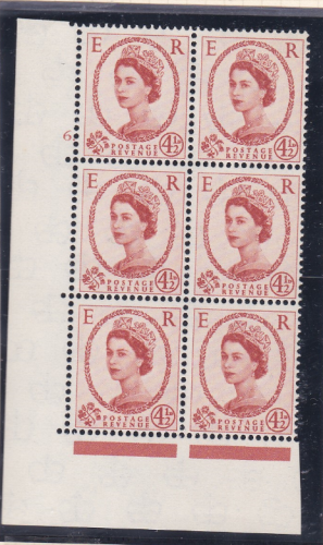 4½d Wilding Multi Crown on White Cyl 6 Dot perf A(E I) UNMOUNTED MINT