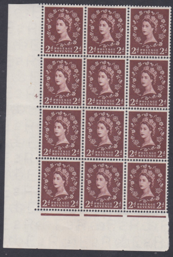 2d Wilding Edward Crown cyl 4 No Dot 12 block perf type A(E I) UNMOUNTED MINT