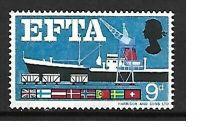 Sg 715pd 1967 EFTA 9d (phos) - Listed Flaw - missing brown - UNMOUNTED MINT