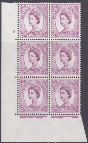 6d Wilding Multi Crown on Cream Cyl 8 No Dot perf A(E I) UNMOUNTED MINT