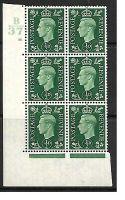 1937 ½d Green Dark colours B37 19 Dot Perf 5(E I) block 6 UNMOUNTED MINT MNH