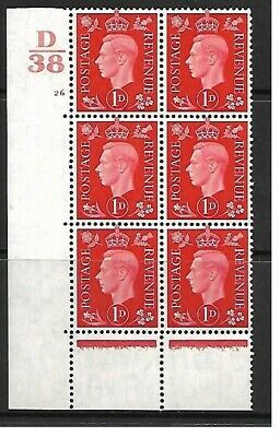 1937 1d Red Dark colours D38 26 No Dot perf 5(E I) block 6 UNMOUNTED MINT MNH